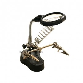 Helping Hand Magnifier LED Light Clip Soldering Stand
