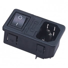 JEC JR-101-1FRS IEC Male Power Socket w Fuse Holder w 4P Switch 10A 250VAC Black