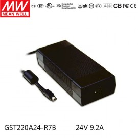 Mean Well GST220A24-R7B 24V 9.2A 220W Desktop Adapter Power Supply Charger 4pin Level VI energy efficient