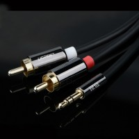 1m/1.5m Ugreen HIFI Gold Plated 3.5mm Male to 2 RCA Male Audio Cable Black