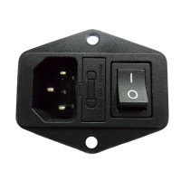 JEC JR-101-1FR IEC Male Power Socket w Fuse Holder w 4P Switch 10A 250VAC Black