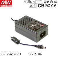 Mean Well GST25A12-P1J 12V 2.08A 25W AC/DC Power Adapter Level VI energy efficient